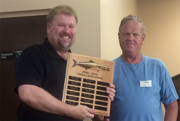 Scott Sampson (Left) receiving Cobia-Thon award from Bruce Reid